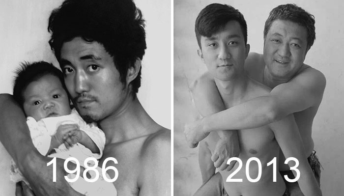 Father And Son Took The Same Picture For 28 Years – Until The Last One