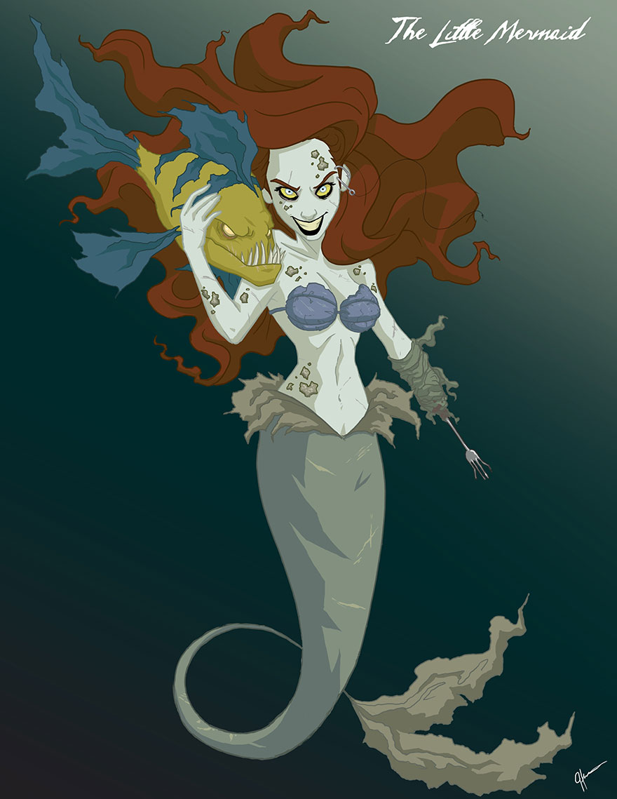 Disney Princesses Reveal Their Dark Sides In Creepy Illustrations By Jeffrey Thomas