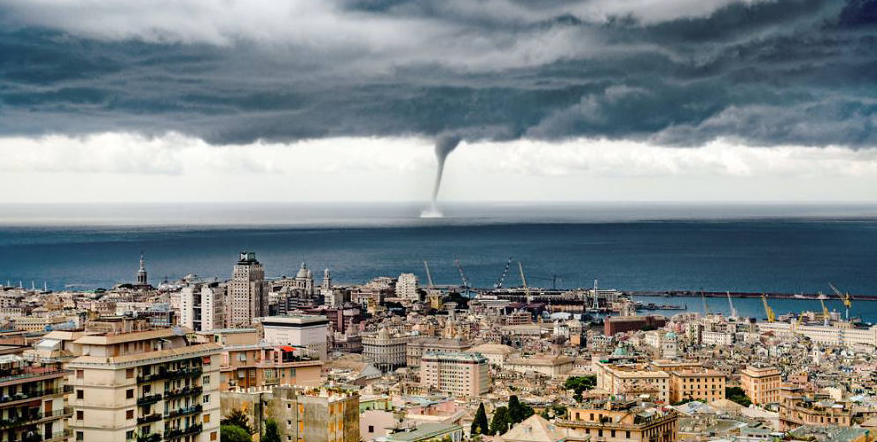 Russian Tourist Captures Incredible Moment A Giant Waterspout Twister Descends On Genoa