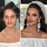 Photos Taken Before And After Brides Got Their Wedding Makeup